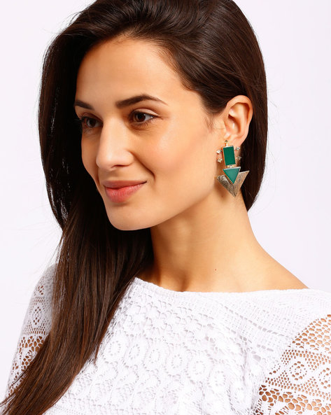 Triangular Drop Earrings With Stones By Ssoul ( Darkgreen )