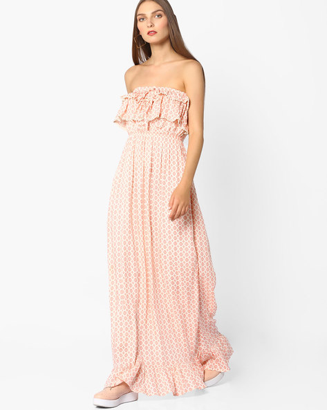 Printed Maxi Tube Dress By Oxolloxo ( Peach )