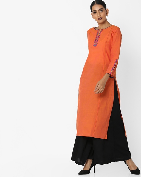 Embroidered Cotton Straight Kurta By KIMONO ( Rust )