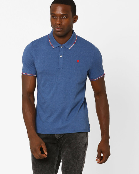Slim Fit Cotton Polo T-shirt By Celio ( Indigo ) - 460031475006