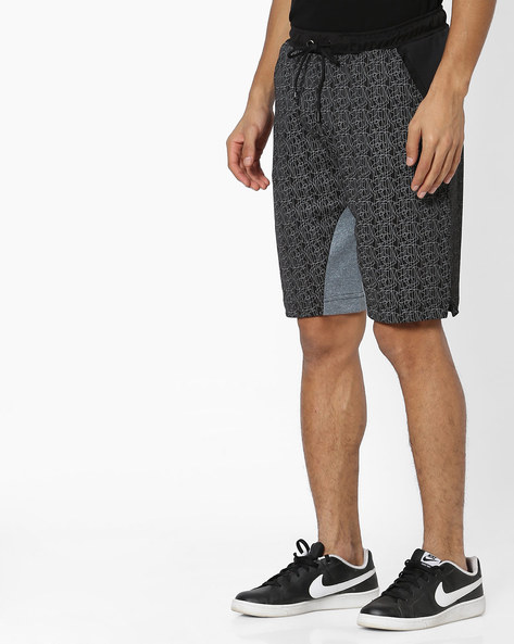Printed Shorts With Solid Panels By FILA ( Black )