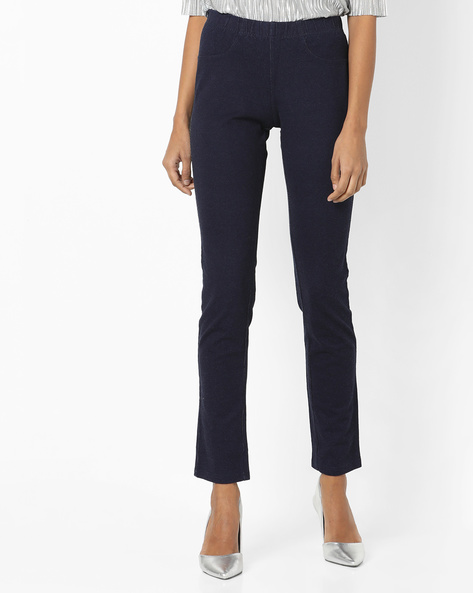 Flat-Front Trousers With Elasticated Waist By And ( Navy )