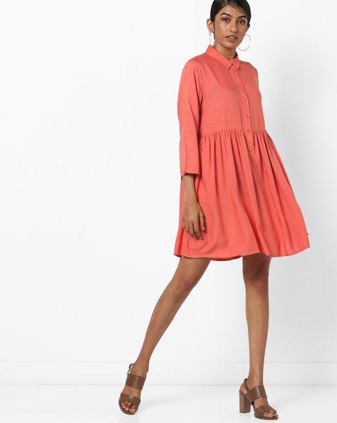 Flared Shirt Dress By Vero Moda ( Red )