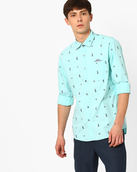 Printed Slim Fit Shirt By Killer ( Blue )