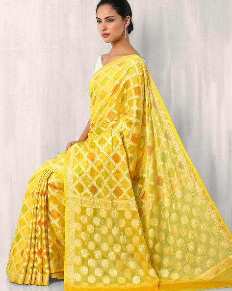 Banarasi Woven Zari Georgette Saree Saree By Indie Picks ( Yellow )