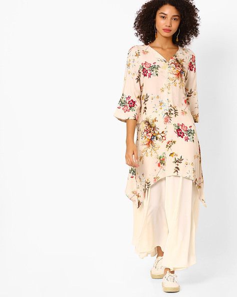 Floral Printed Kurta With Asymmetrical Hemline By Melange By Lifestyle ( Offwhite )