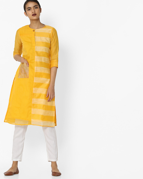 Straight Kurta With Patch Pocket By JASHN ( Yellow )