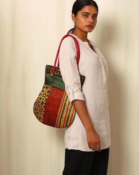 Handblock Print Mashru Silk Tote Bag By Indie Picks ( Multi ) - 460059238001