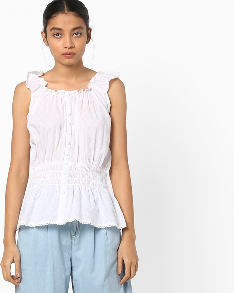Sleeveless Peplum Top By AJIO ( White )