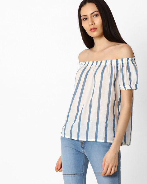 Striped Off-Shoulder Peasant Top By Vero Moda ( White )