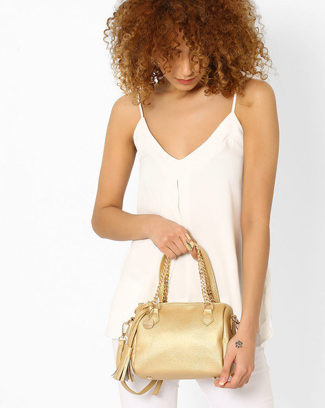 Textured Barrel Handbag By Lino Perros ( Golden )