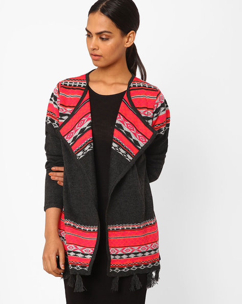 Knitted Shrug With Tassels By AVAASA MIX N' MATCH ( Charcoal )