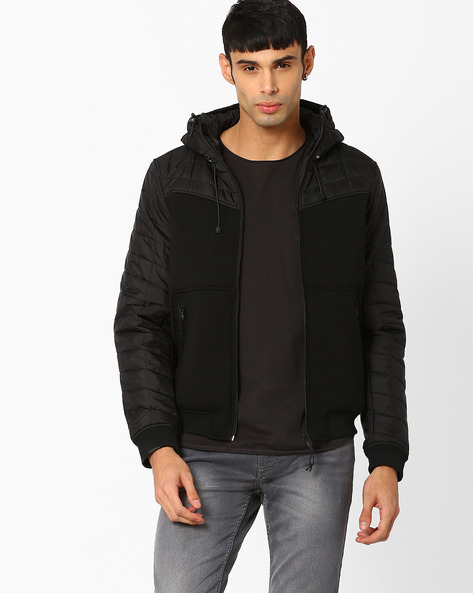 Regular Fit Quilted Jacket With Hood By Celio ( Black )