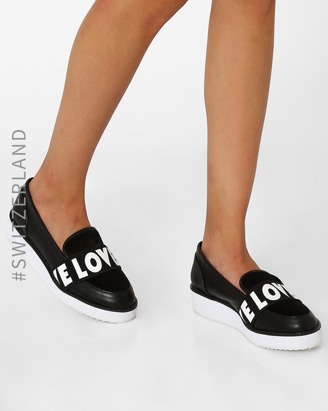 Platform Loafers With Printed Overlay By TALLY WEiJL ( Black )