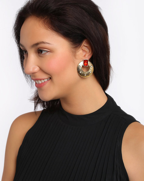Drop-Earrings With Stone Work By Fida ( Gold )
