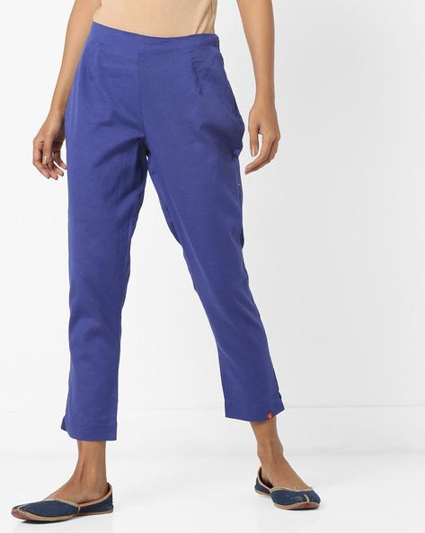 Mid-Rise Calf-Length Slim Pants By Biba ( Indigo )