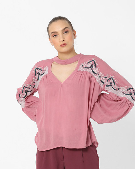 High-Neck Top With Cut-Out By Rena Love ( Pink )