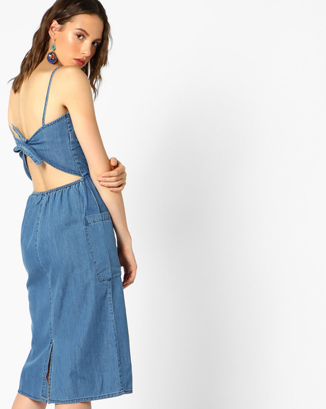 Back-Tie Strappy Denim Dress By AJIO ( Lightblue )