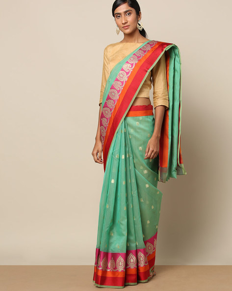 Banarasi Cotton Resham Buti Saree With Satin Border By Banarasi Style ( Green )