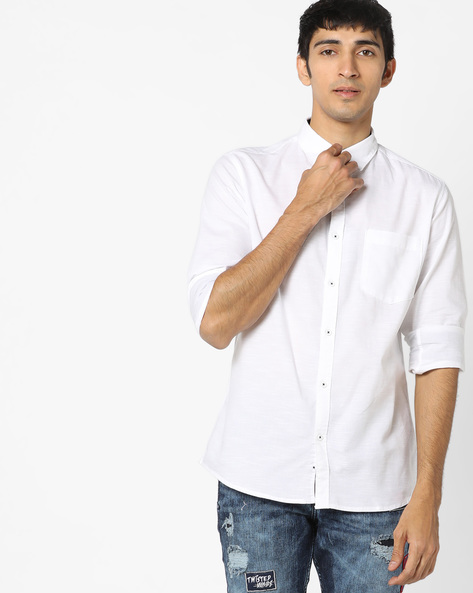 Slim Fit Shirt With Patch Pocket By AJIO ( White ) - 460128096001