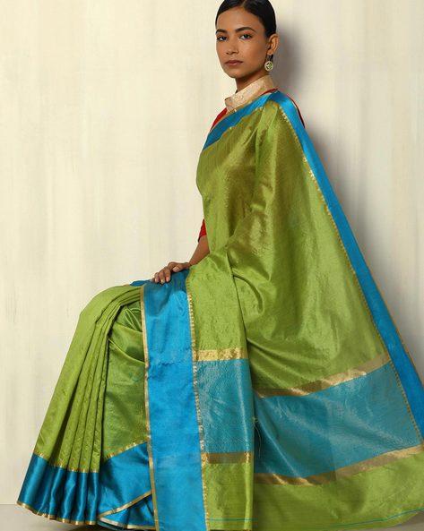 South Silk Saree With Zari Border By Pretty Woman ( Green )