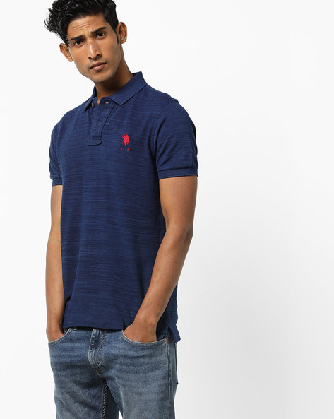 Striped Polo T-shirt With Ribbed Hems By US POLO ( Blue )