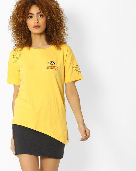 Slub Knit T-shirt With Asymmetrical Hem By Blue Saint ( Yellow )