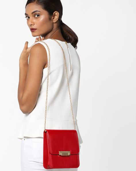 Sling Bag With Detachable Chain Strap By Lino Perros ( Red )