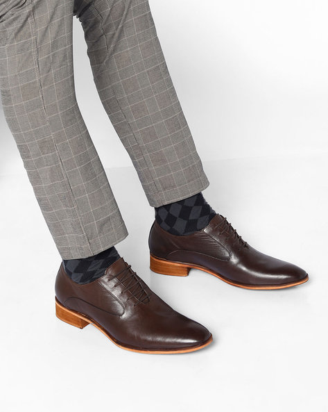 Genuine Leather Panelled Shoes By Acuto ( Brown )