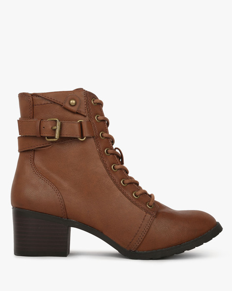 High-Top Lace-Up Boots With Side Zipper By BRASH ( Cognac )