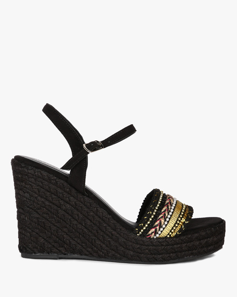 Ankle-Strap Wedges With Braided Midsole By Dummy ( Black )