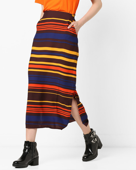 Colourblock Striped Midi Skirt By Project Eve WW Casual ( Brown )