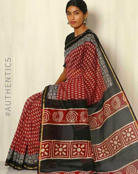 Bagru Handblock Print Chanderi Saree With Zari Border By Indie Picks ( Multi ) - 460053762001