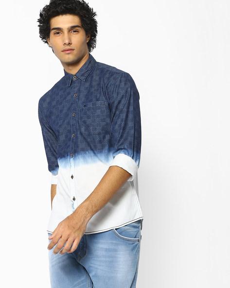 Scott Ombre-Dyed Slim Shirt By WRANGLER ( Blue )