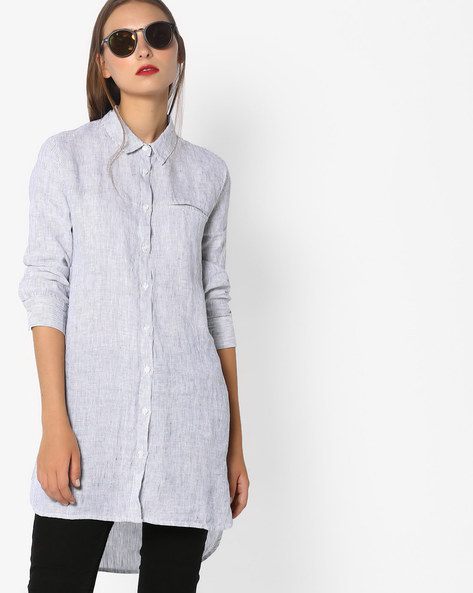 Striped Longline Shirt By Vero Moda ( Grey )