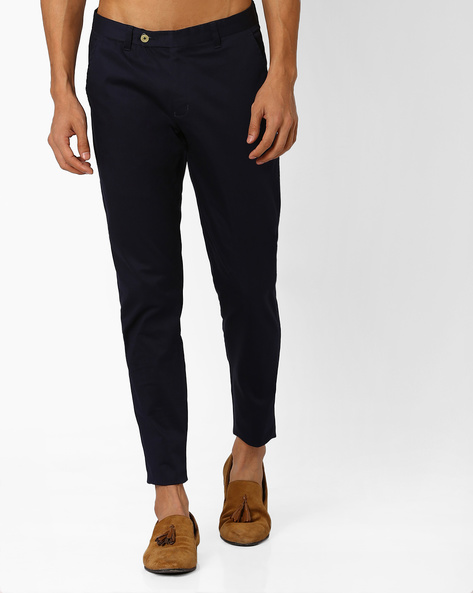 Slim Fit Cotton Chinos By MR.BUTTON ( Navyblue )