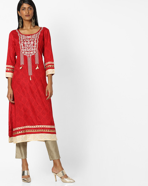 Printed Kurta With Embroidered Yoke By Indian Ink ( Red )