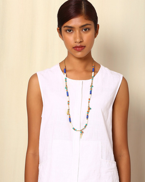 Tibetan Style Beaded Necklace By Indie Picks ( Multi )