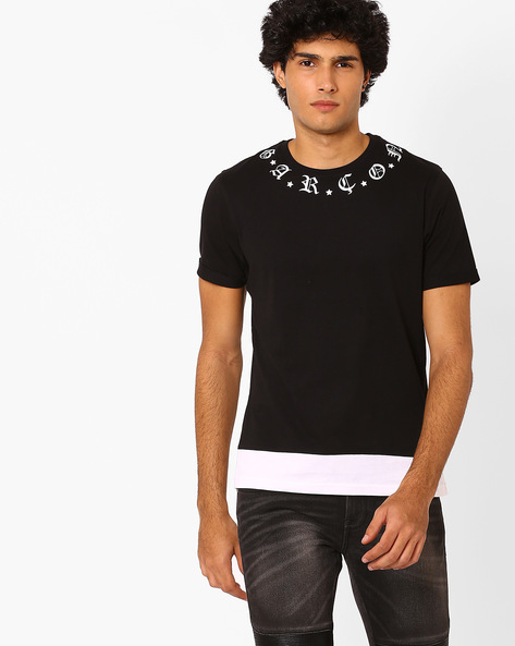 Crew-Neck T-shirt With Placement Print By Garcon ( Black )