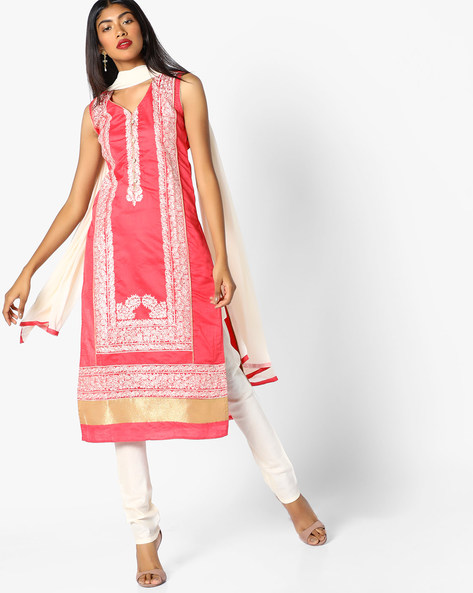 Embroidered Kurta Suit Set By SOCH ( Peach )