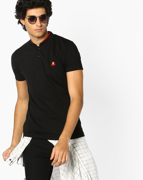 Cotton T-shirt With Mandarin Collar By The Indian Garage Co ( Black )