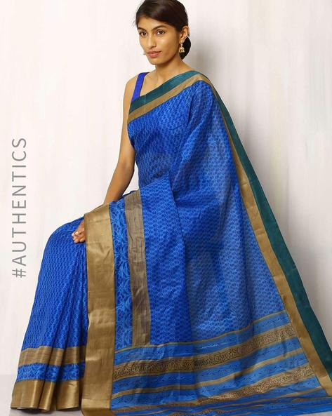 Printed Pure Silk Handloom Saree By Rudrakaashe-MSU ( Blue )