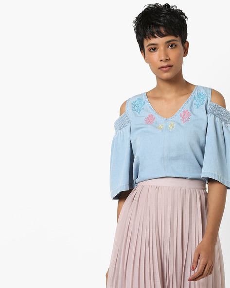 Cold-Shoulder Denim Top By AJIO ( Lightblue )