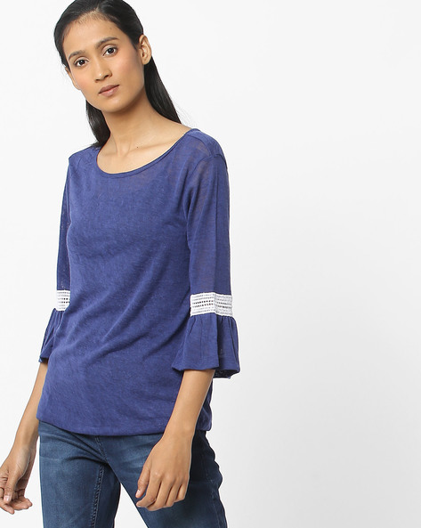 T-shirt With Bell Sleeves By FIG ( Navy )