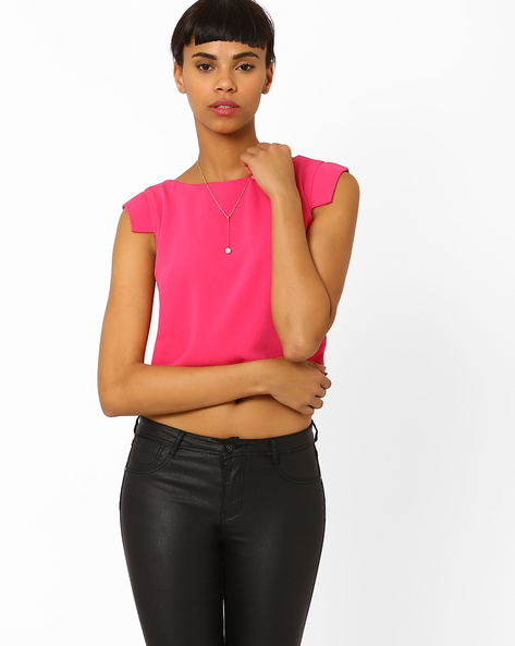 Crop Top With Stylized Cap Sleeves By AJIO ( Pink )