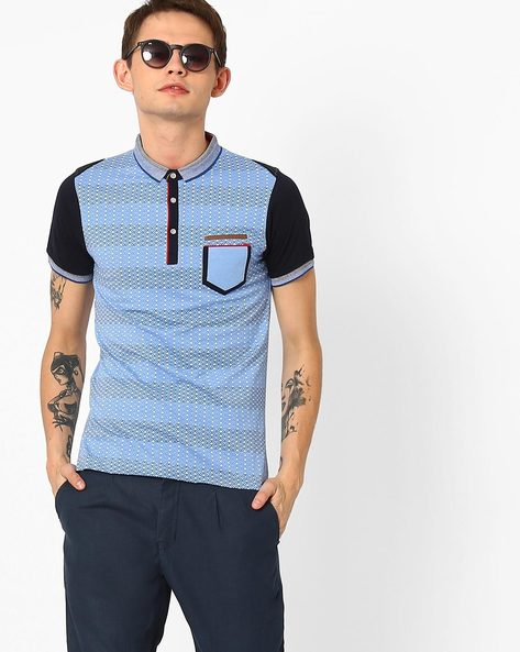 Printed Polo T-shirt With Patch Pocket By Fort Collins ( Sblue )