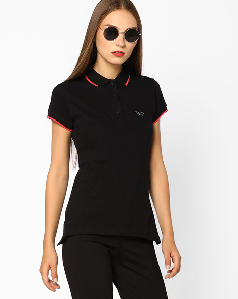 Polo T-shirt With Contrast Tipping By BOSSINI ( Black )