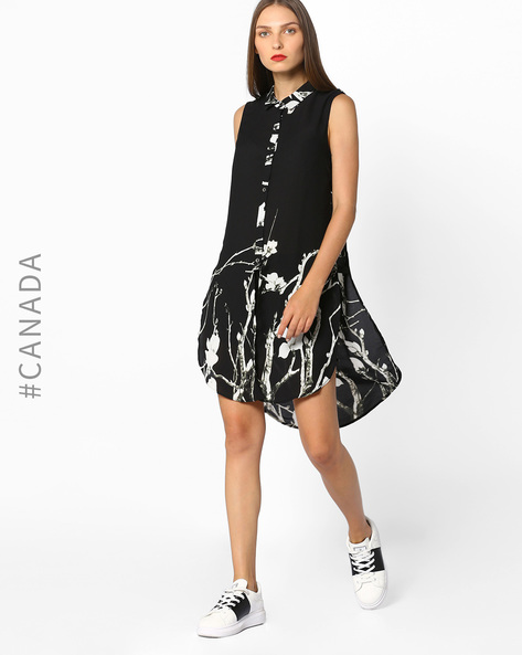 Floral Print High-Low Hem Tunic By Point Zero ( Black )