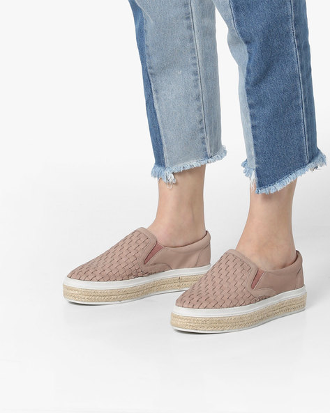 Flatform Loafers With Braided Midsole By Carlton London ( Pink )