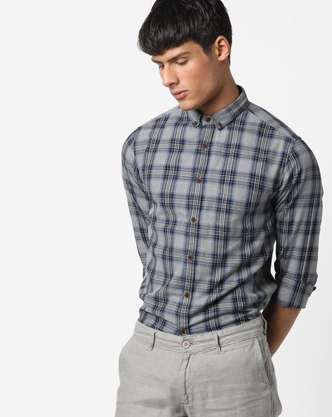 Checked Shirt With Patch Pocket By AJIO ( Grey ) - 460158532005